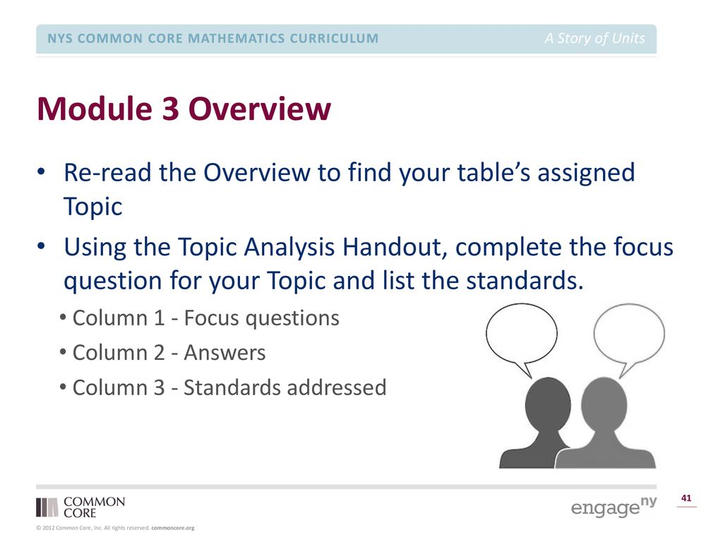 A Story of Units Module Focus TIME ALLOTTED FOR THIS SLIDE