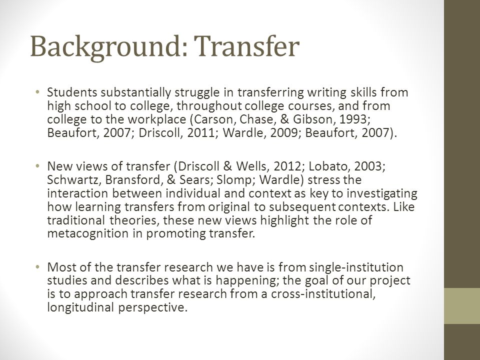 The Writing Transfer Project Promoting Transfer through