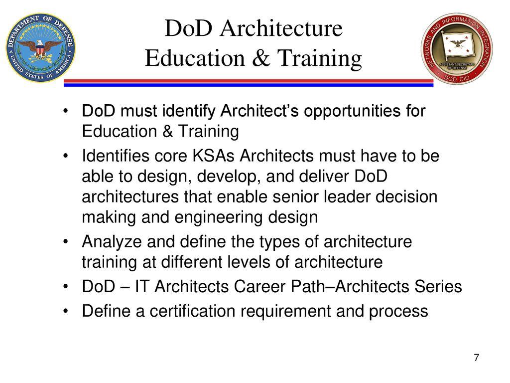 Dod Architecture Education Training Dod Cio Architecture Standards