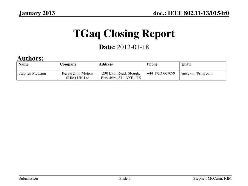 TGaq Closing Report Date: Authors: January 2013