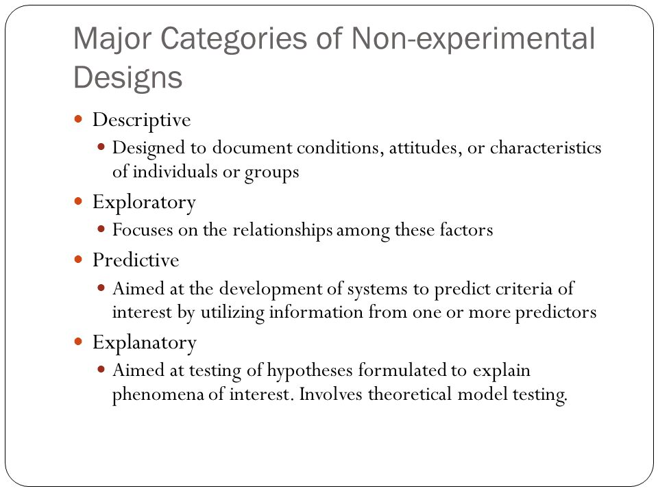 Major Categories of Non-experimental Designs