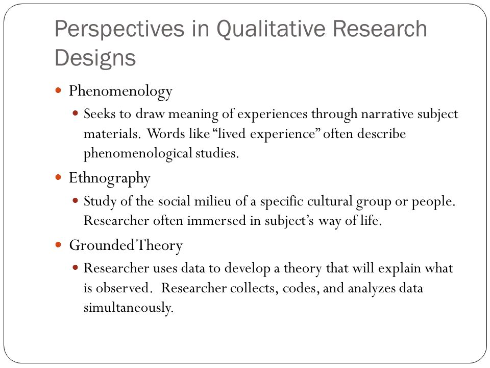 Perspectives in Qualitative Research Designs