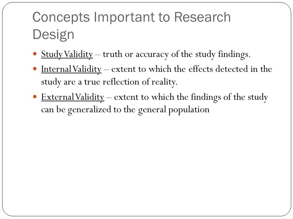 Concepts Important to Research Design