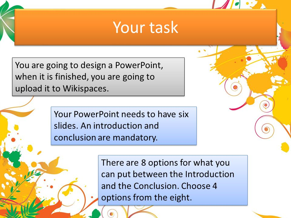 Your task You are going to design a PowerPoint, when it is finished, you are going to upload it to Wikispaces.