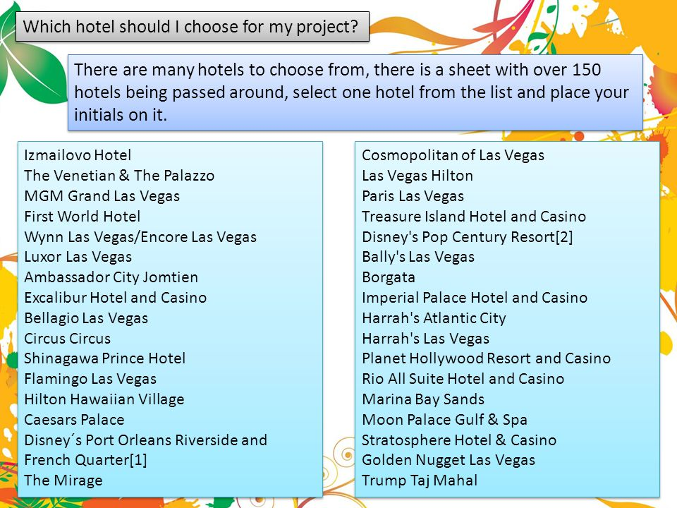 Which hotel should I choose for my project