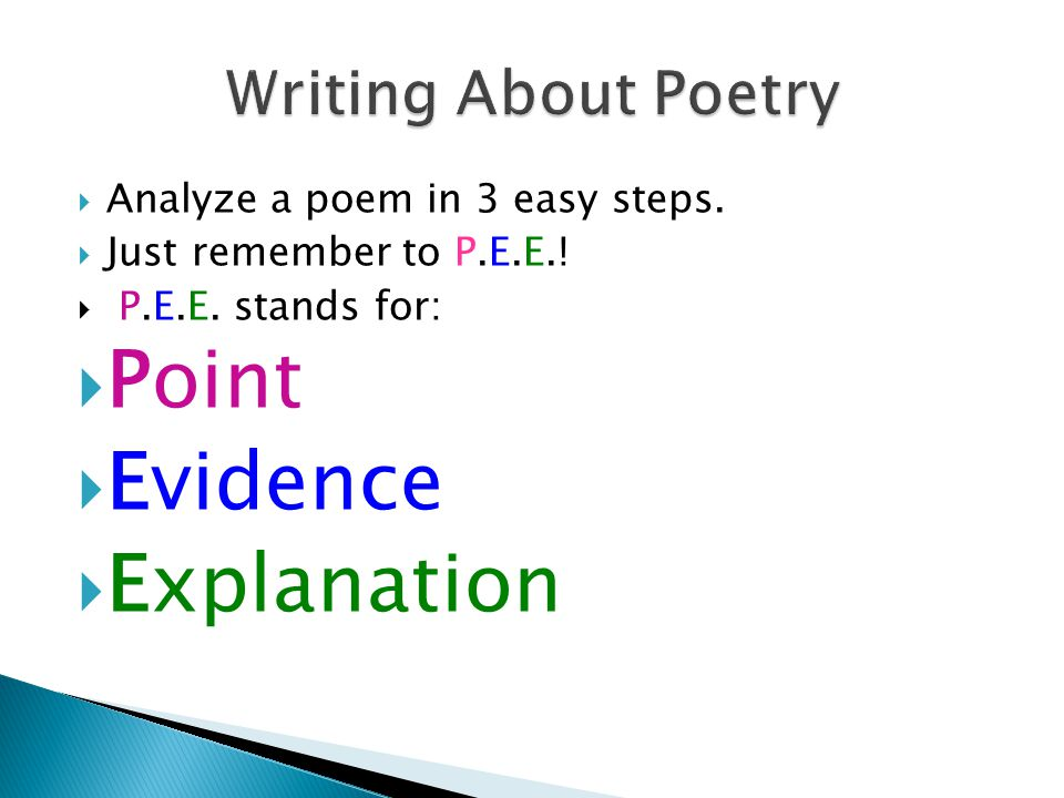 Point Evidence Explanation Writing About Poetry