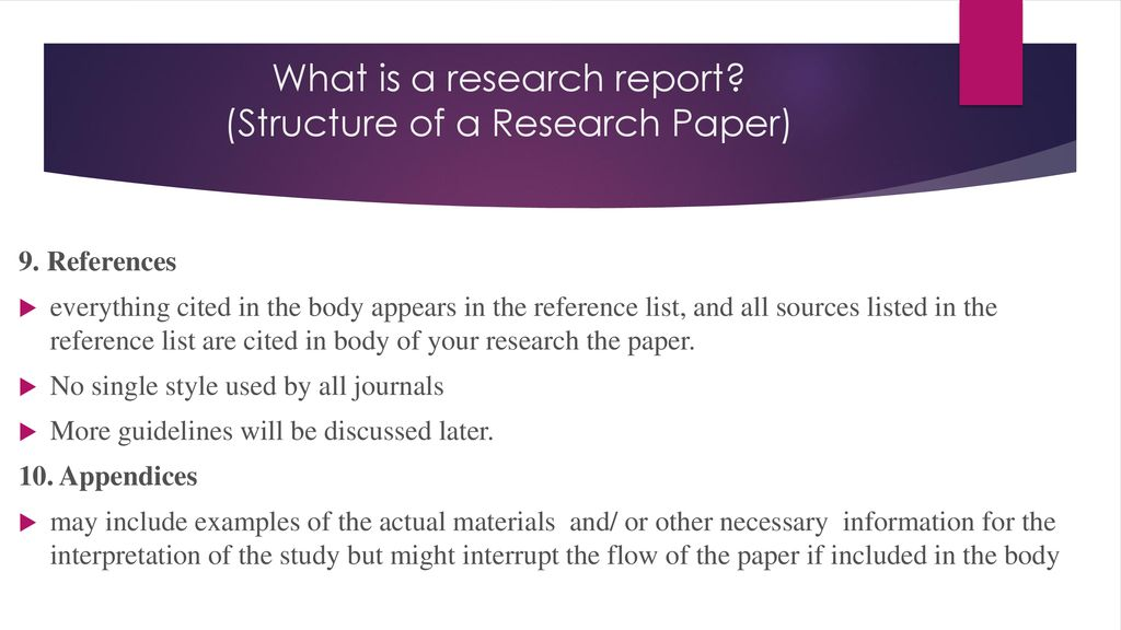 what is a research report structure of a research paper