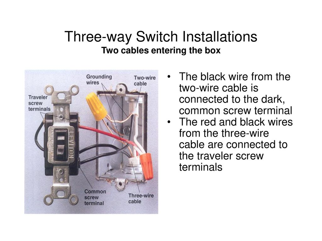 Switches W C Buster Hounshell Spring Ppt Download What Is The Black Wire In Electrical Wiring Three Way Switch Installations Two Cables Entering Box