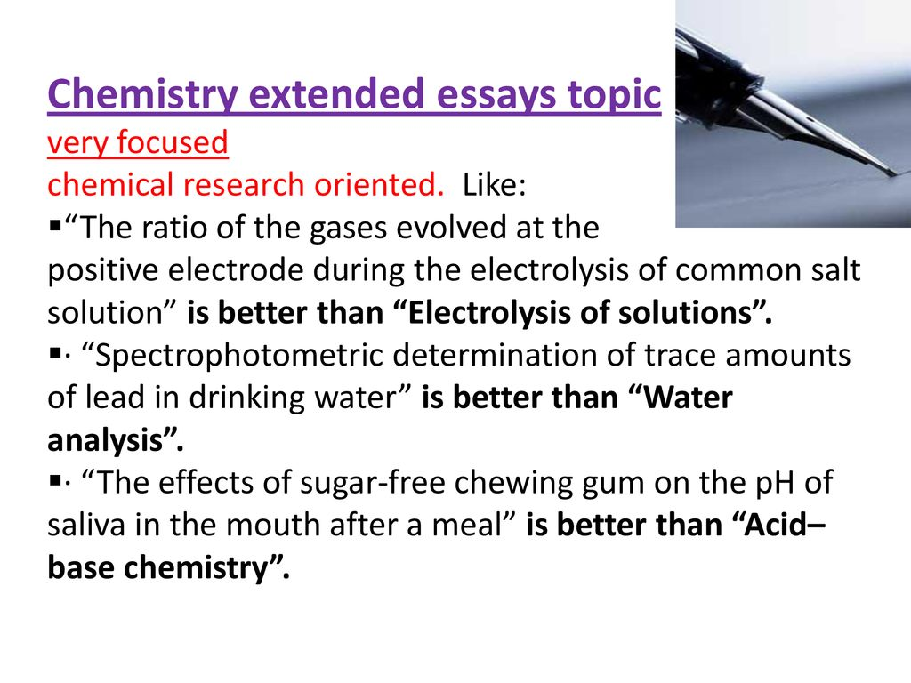 chemistry extended essay topics