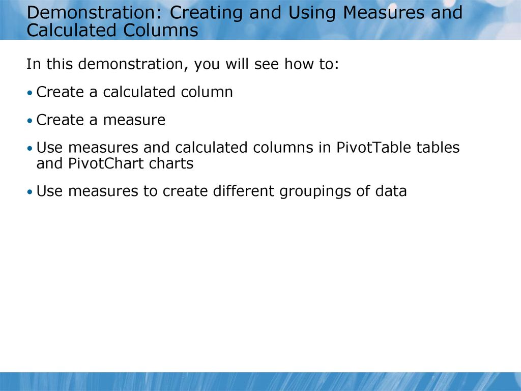 Module 11: Introduction to DAX Module 11 Introduction to DAX - ppt