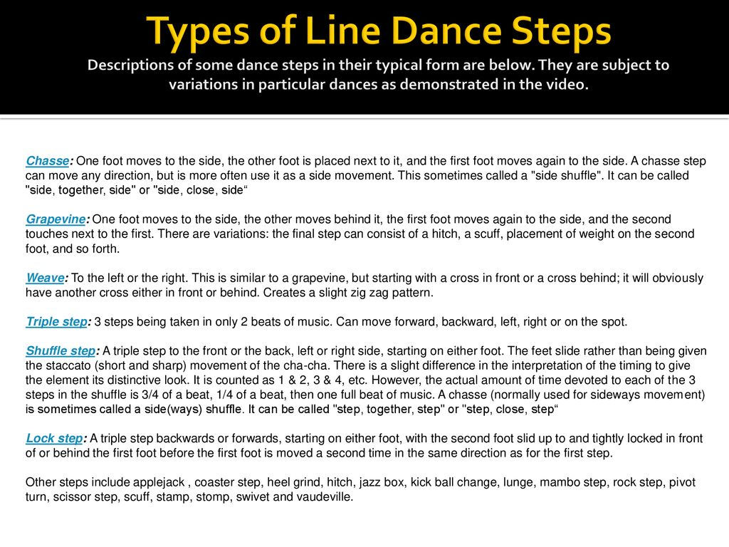 Lets Dance An Approach To Secondary By Christine Berni Ramos Step Diagrams Types Of Line Steps Descriptions Some In Their Typical Form Are Below