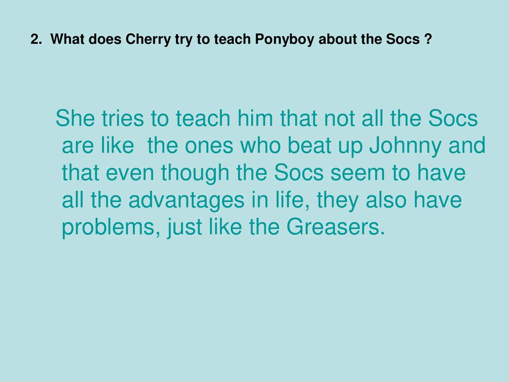what argument did cherry use to defend the socs
