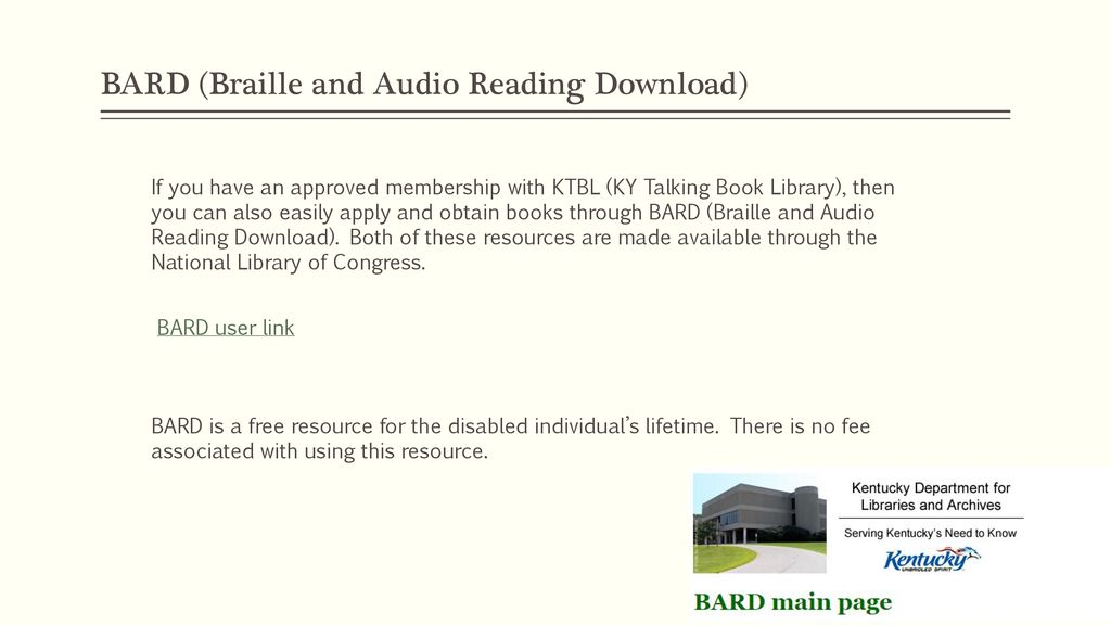 Bard: braille and audio reading download.