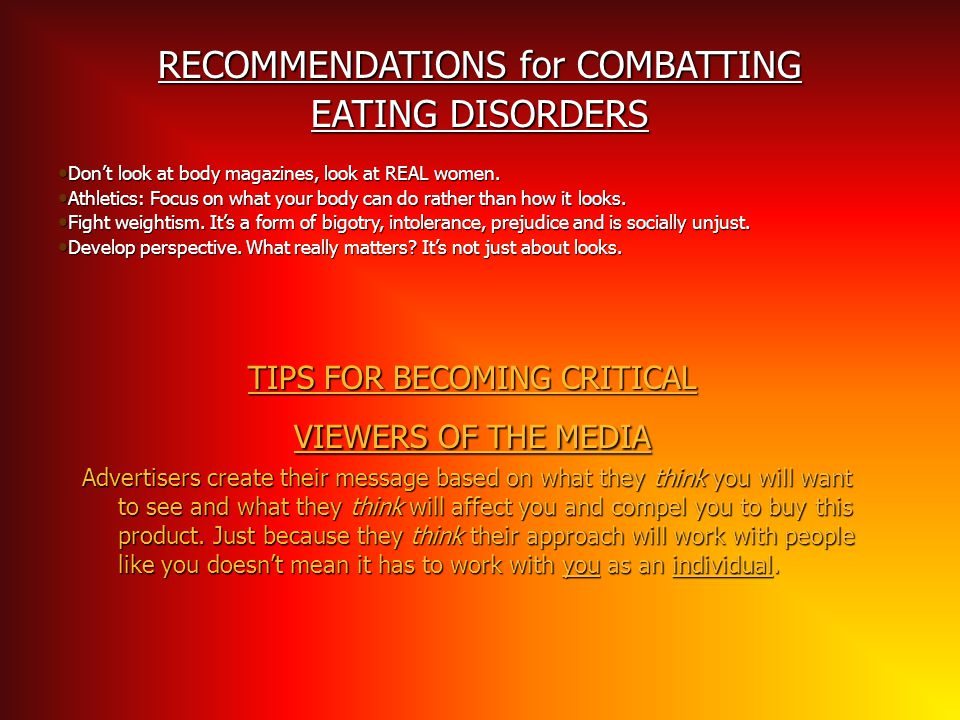 RECOMMENDATIONS for COMBATTING EATING DISORDERS