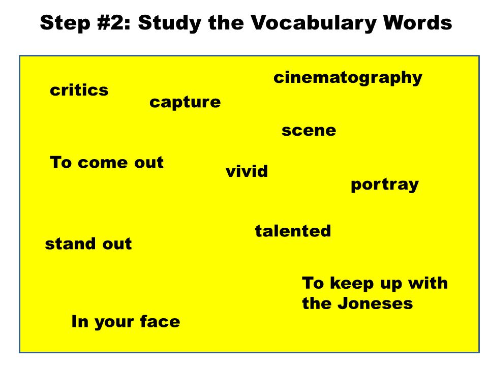 Step #2: Study the Vocabulary Words