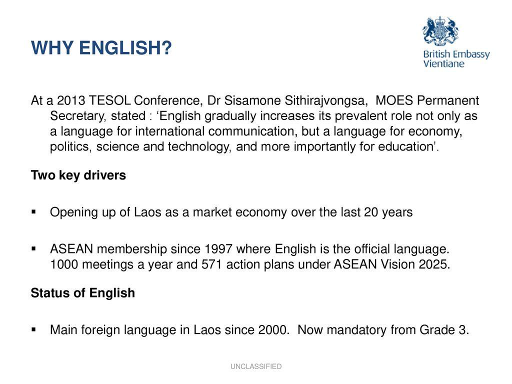 ENGLISH LANGUAGE TRAINING FOR THE LAO PUBLIC SERVICE: - ppt