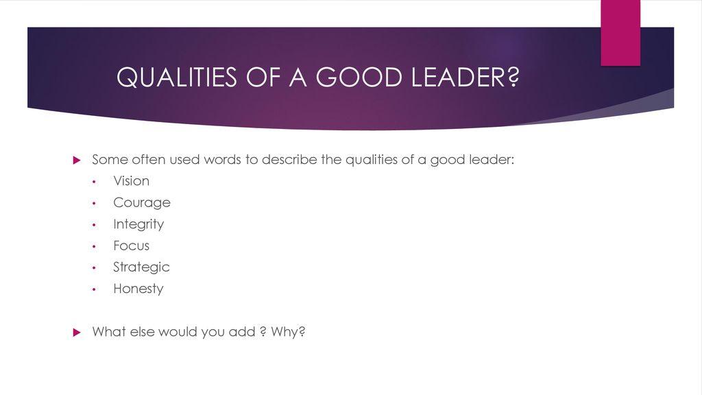 words that describe a good leader