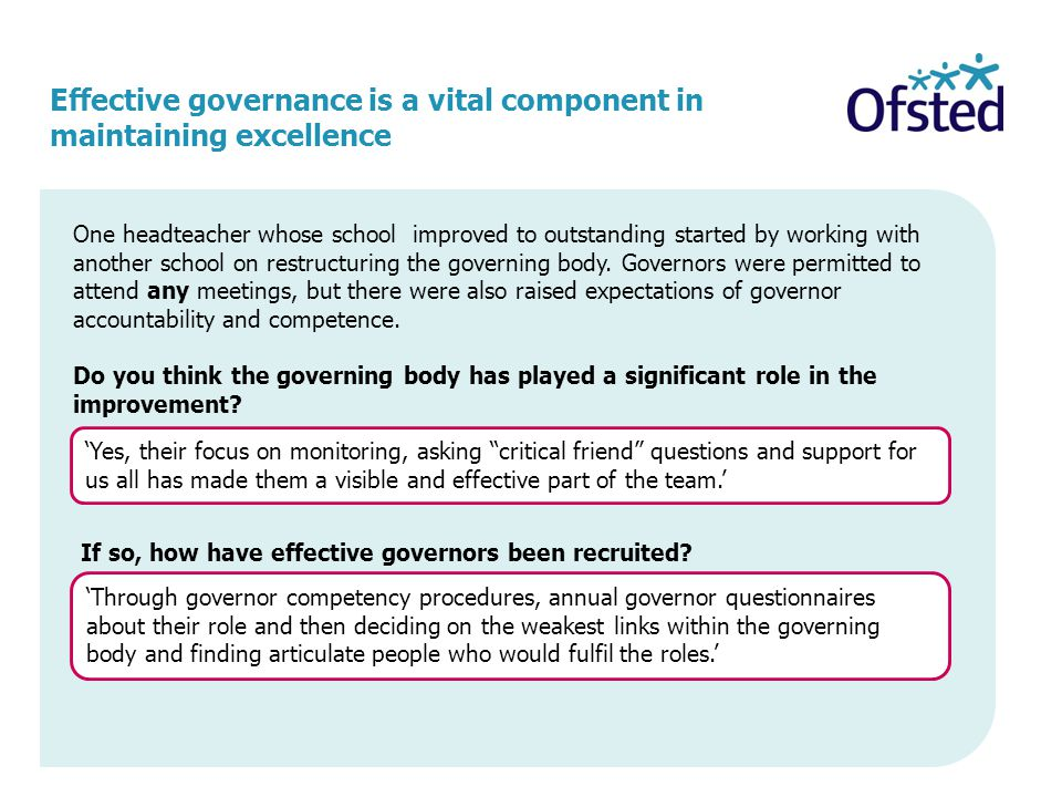 Effective governance is a vital component in maintaining excellence