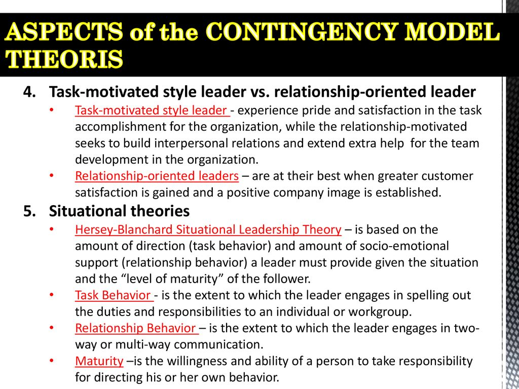 ASPECTS of the CONTINGENCY MODEL THEORIS