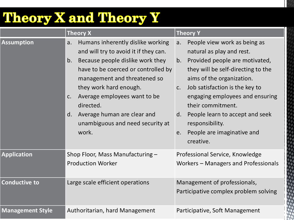 Theory X and Theory Y Theory X Theory Y Assumption