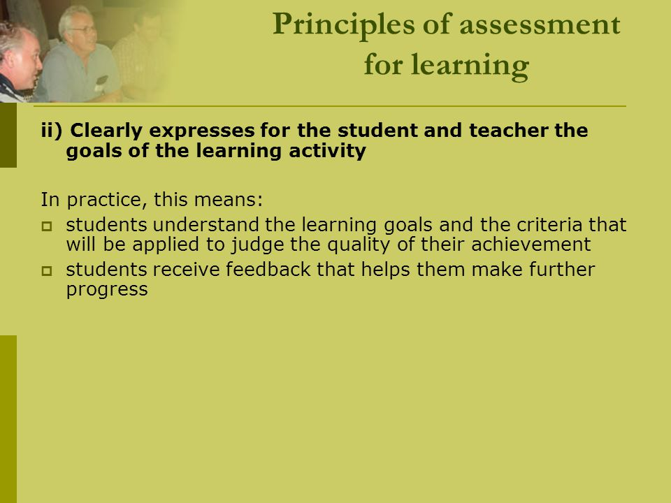 Principles of assessment for learning