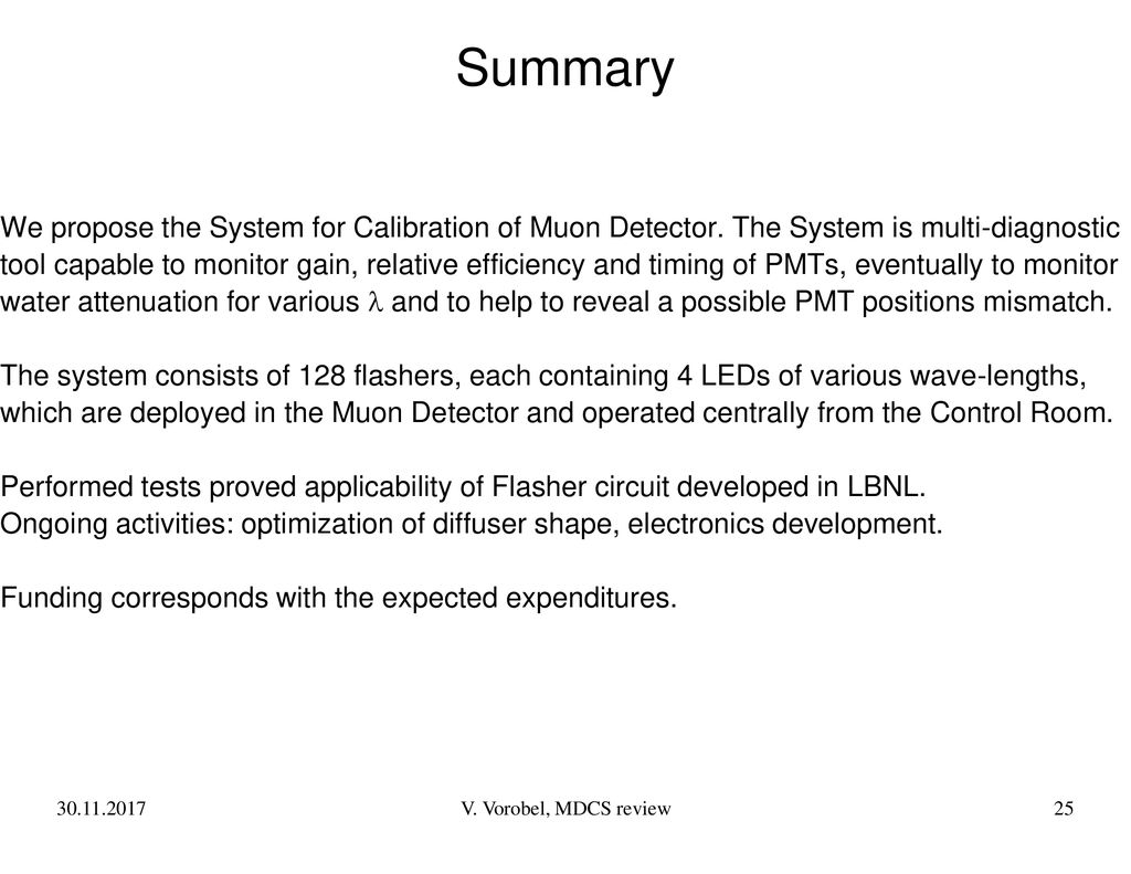 Muon Detector Calibration System Ppt Download Single Led Flasher Circuit 25 Summary