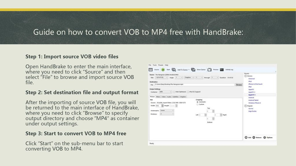 vob to mp4 handbrake