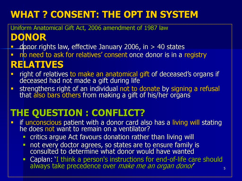 5 What Consent The Opt In System Uniform Anatomical Gift Act