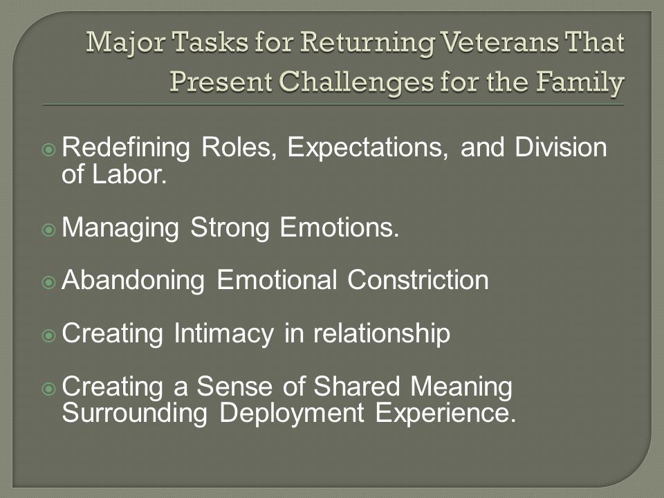 Major Tasks for Returning Veterans That Present Challenges for the Family