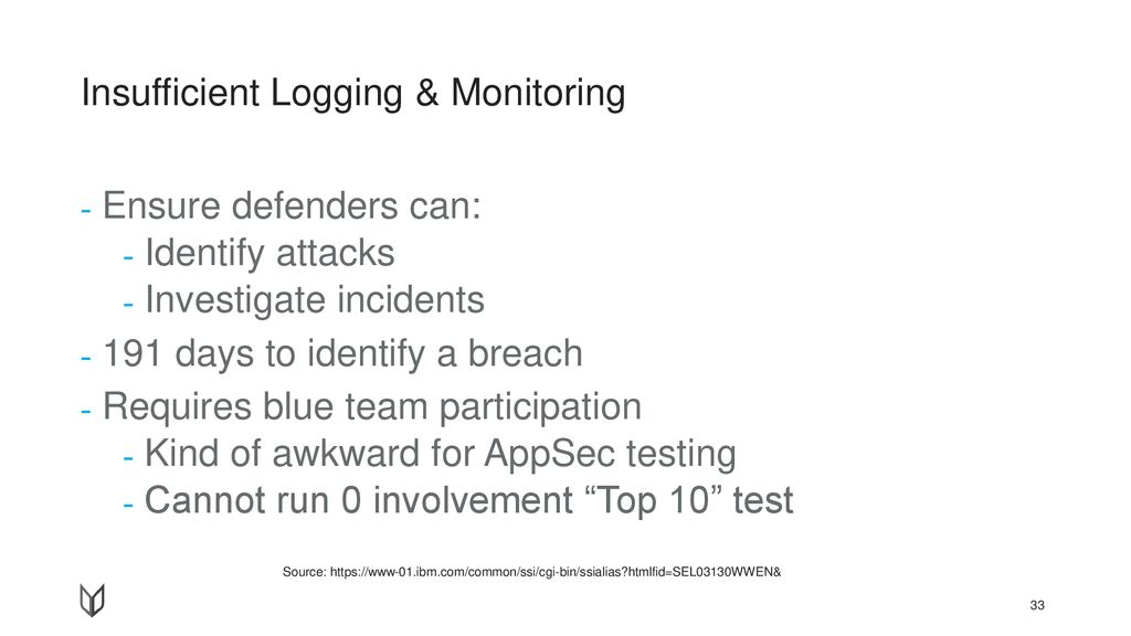 Insufficient Logging & Monitoring