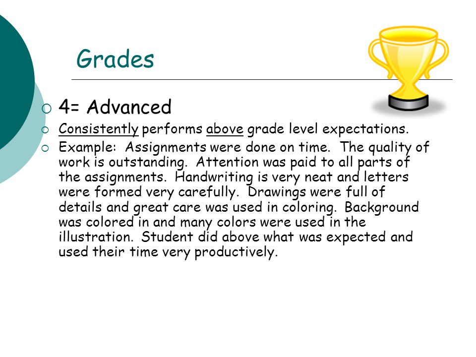 Grades 4= Advanced. Consistently performs above grade level expectations.