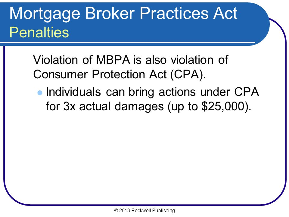 Mortgage Broker Practices Act Penalties