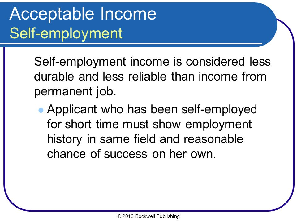 Acceptable Income Self-employment