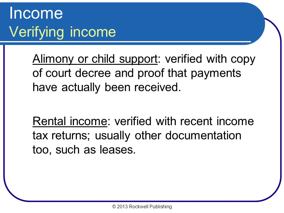 Income Verifying income