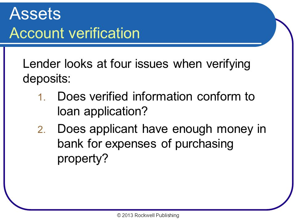 Assets Account verification