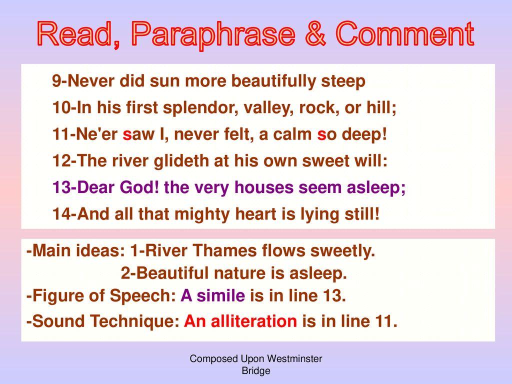 composed upon westminster bridge figures of speech