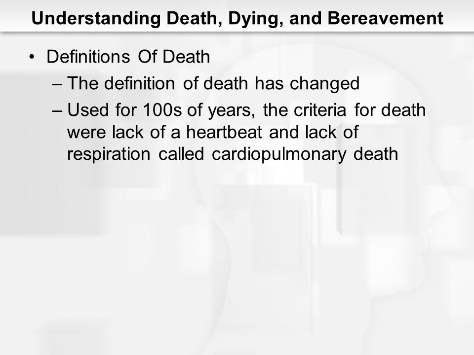 Understanding Death, Dying, and Bereavement