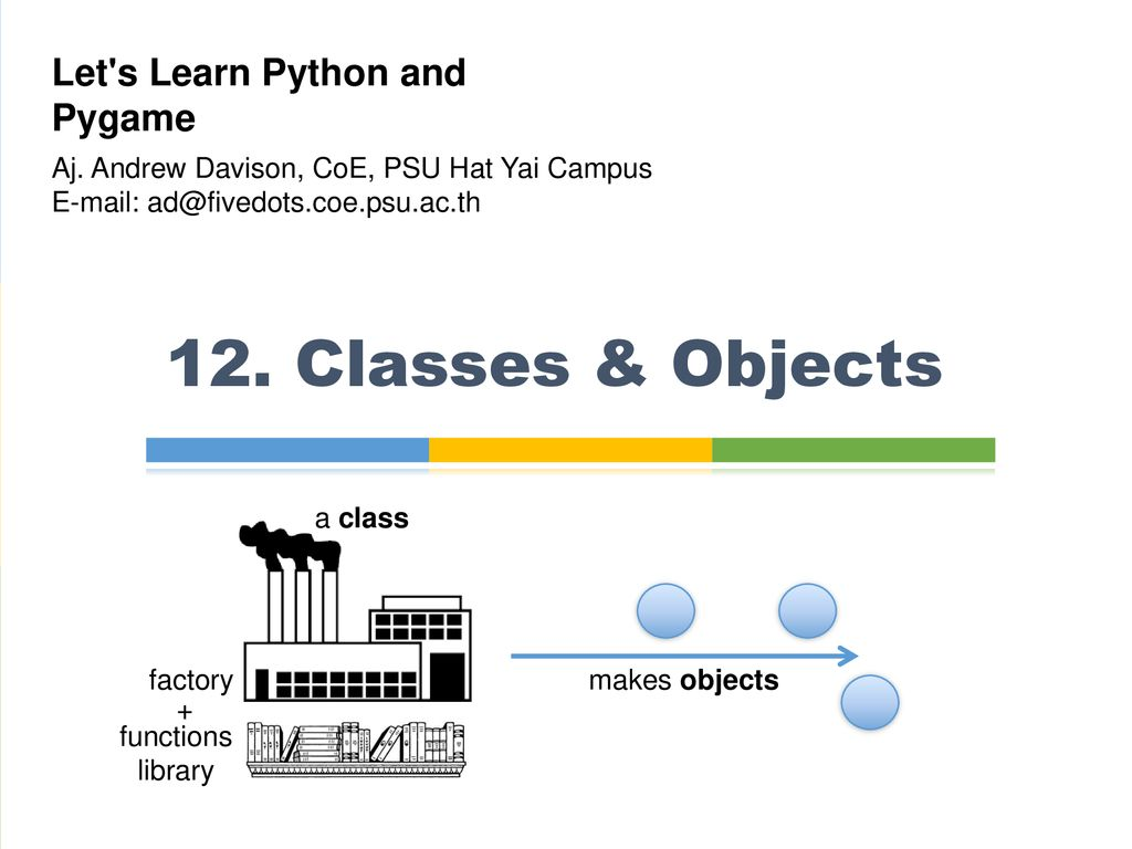 12  Classes & Objects Let's Learn Python and Pygame - ppt download