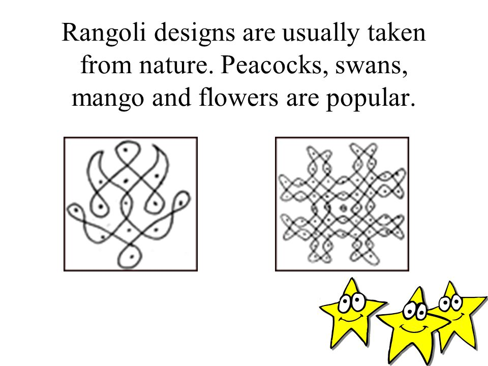 Rangoli designs are usually taken from nature
