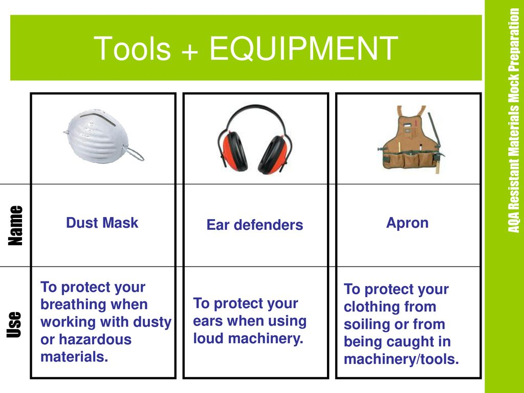 Resistant Materials Revision Tools Equipment Health Safety