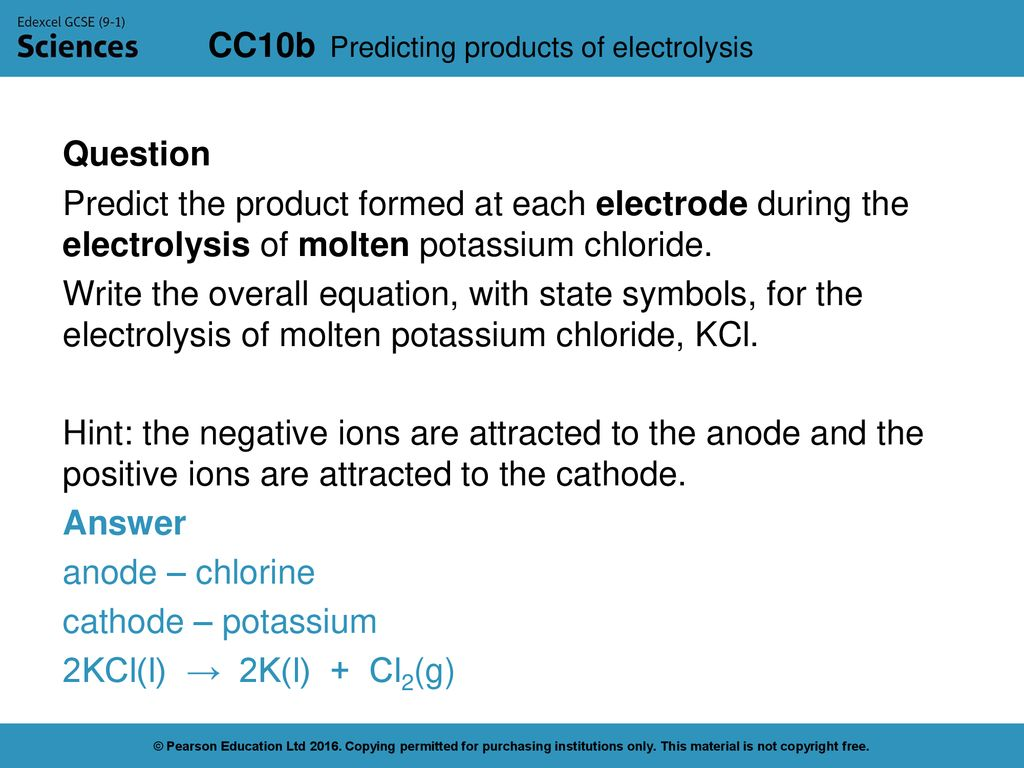 Predicting products of electrolysis - ppt download