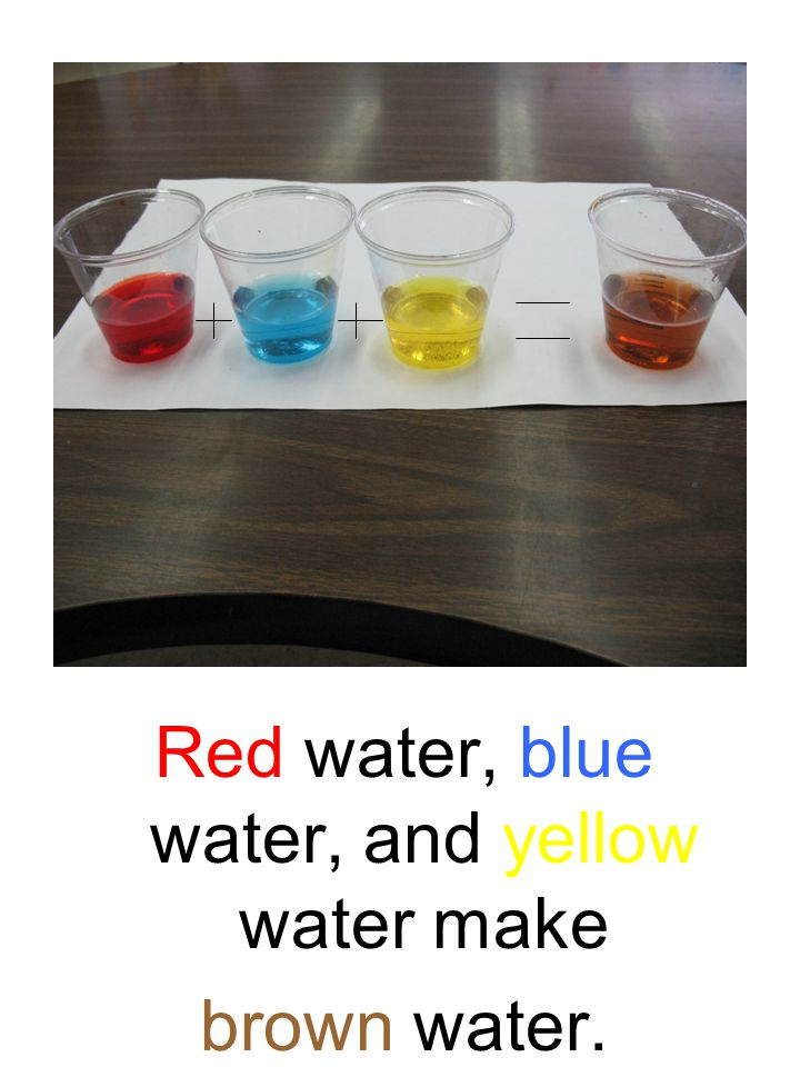 Red water, blue water, and yellow water make