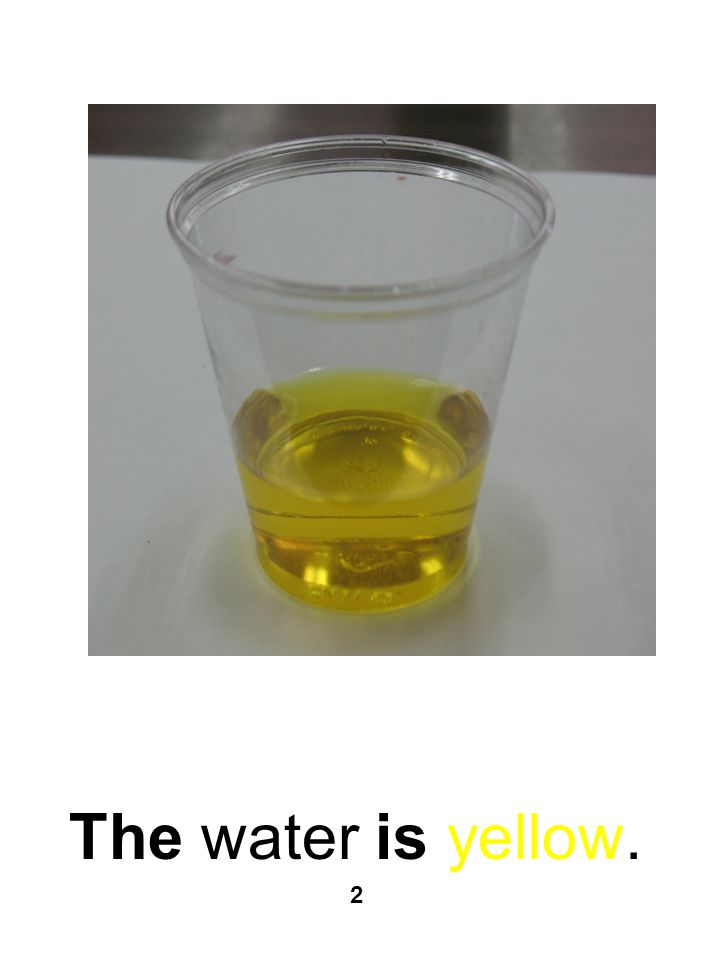 The water is yellow. 2