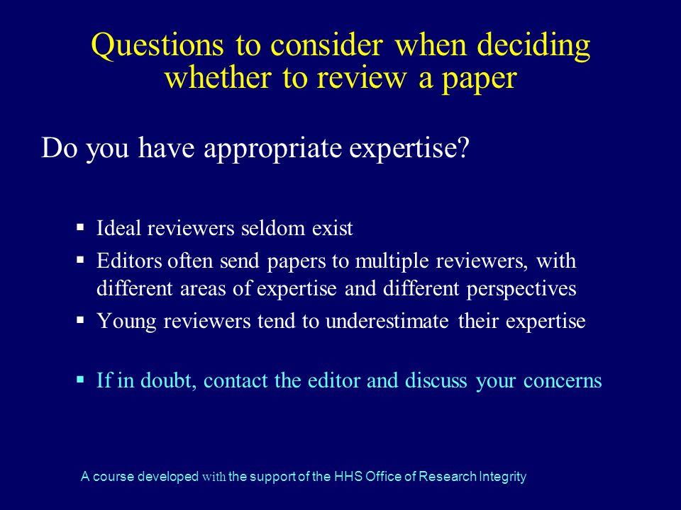 Questions to consider when deciding whether to review a paper
