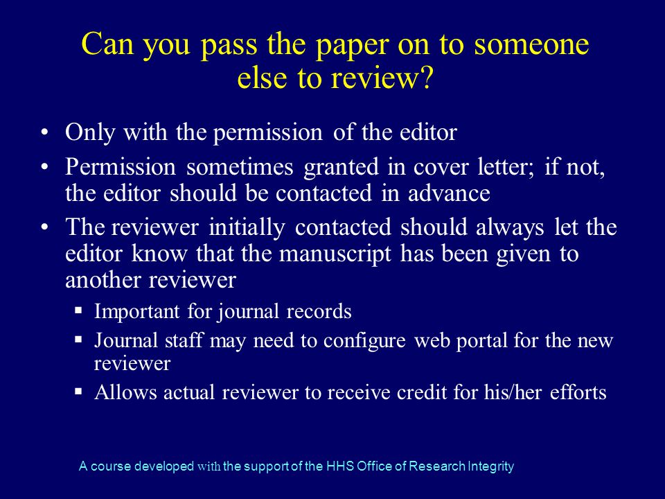 Can you pass the paper on to someone else to review