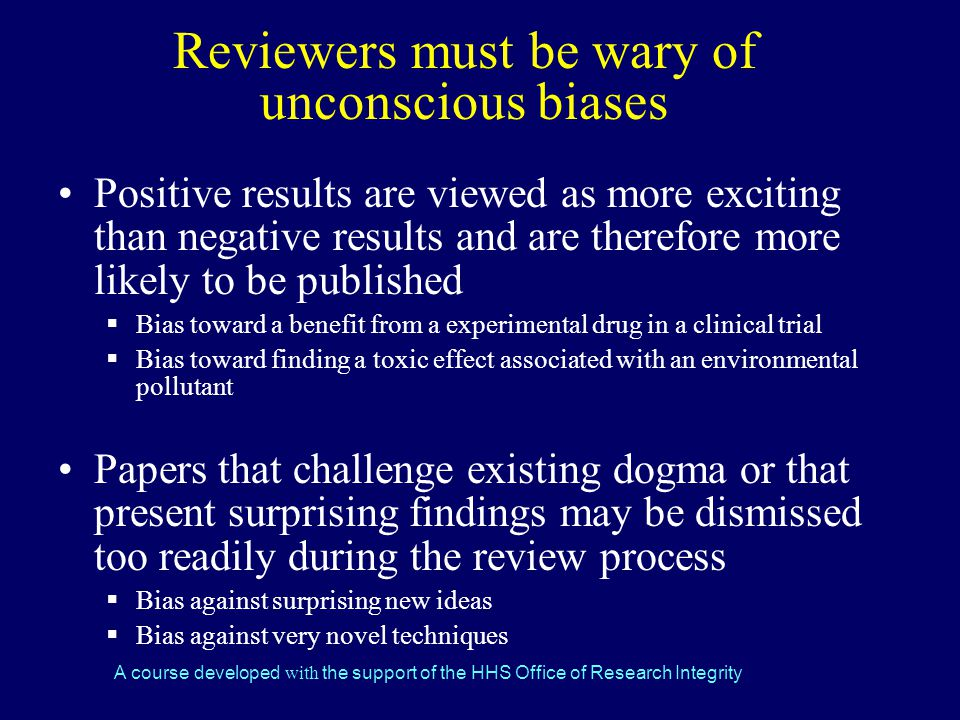 Reviewers must be wary of unconscious biases