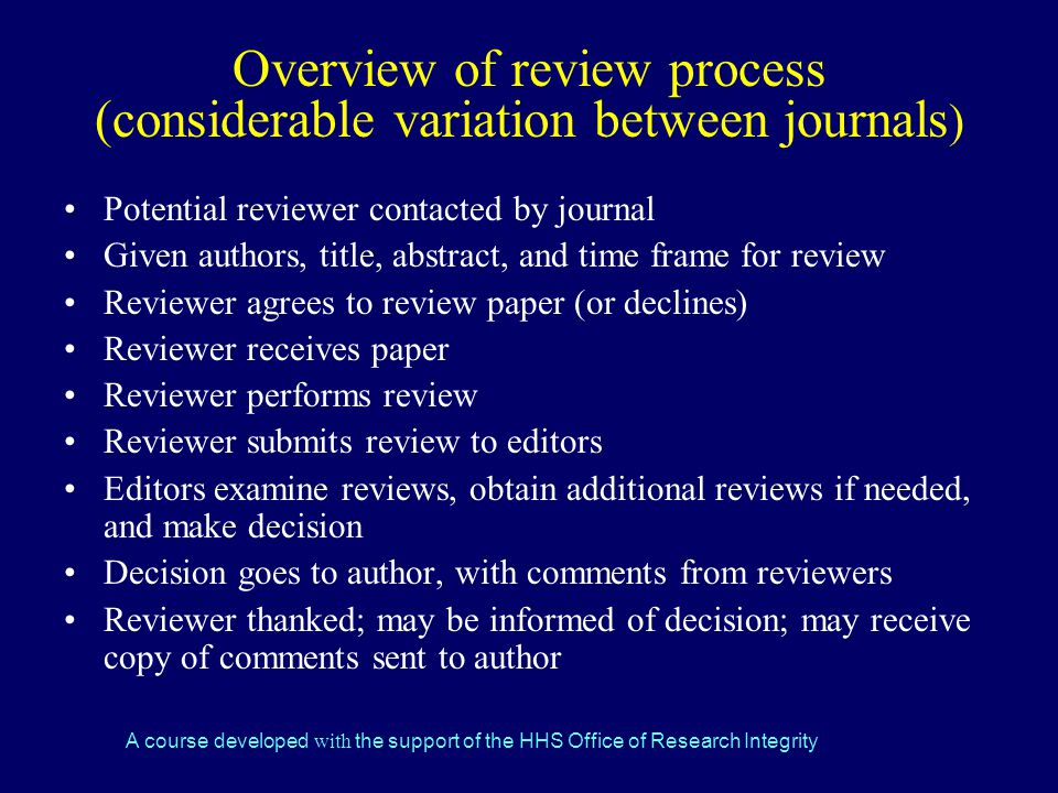 Overview of review process (considerable variation between journals)