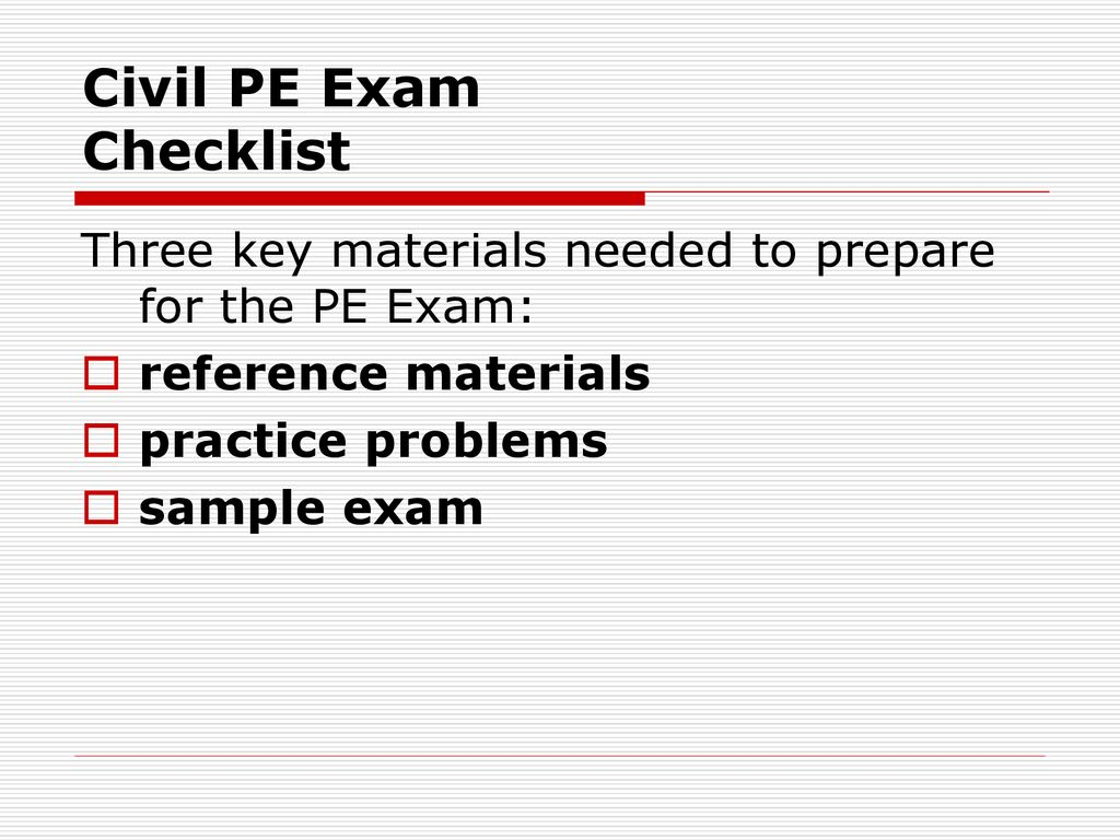 Civil PE Exam Checklist - ppt download