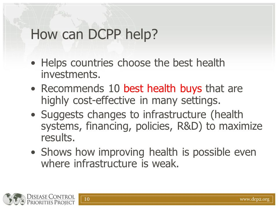 How can DCPP help Helps countries choose the best health investments.