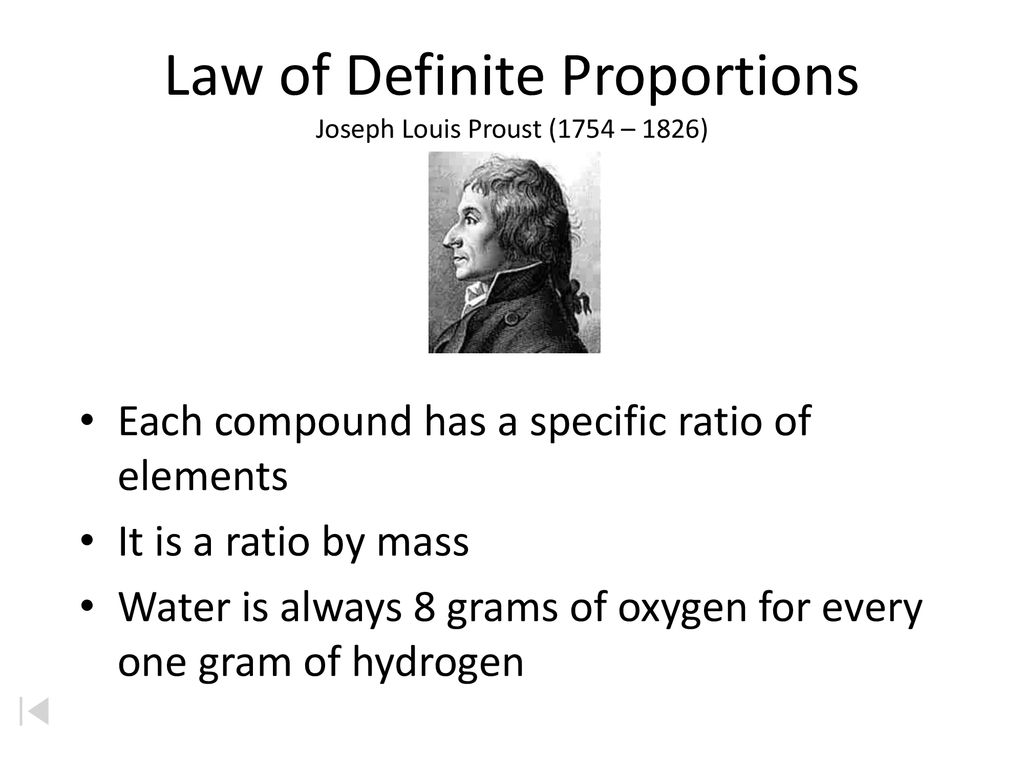 Law of Definite Proportions Joseph Louis Proust (1754 – 1826)